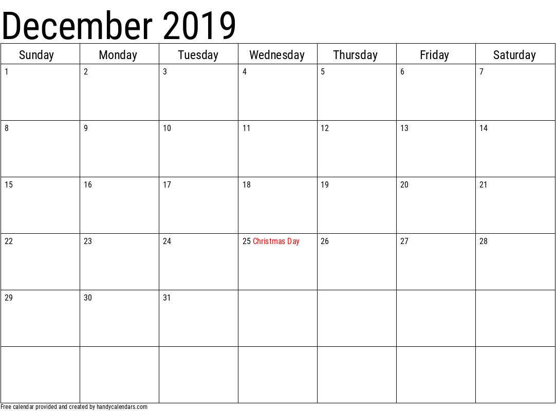 2019 December Calendar Template with Holidays