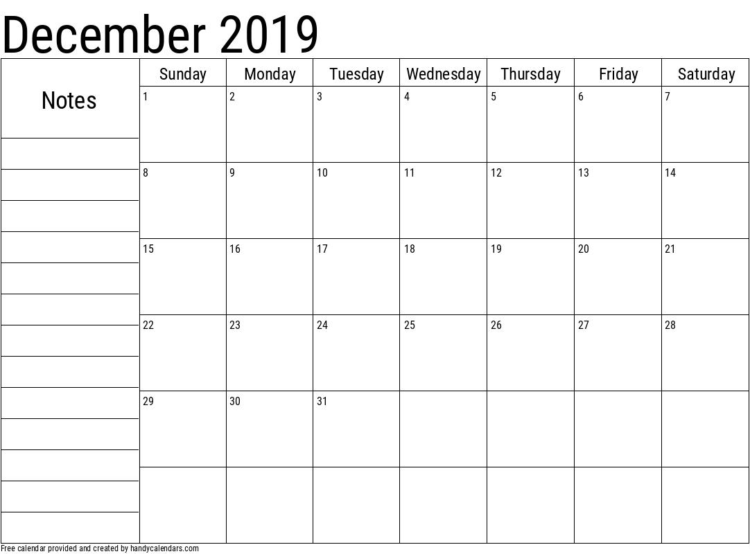 2019 December Calendar with Notes Template