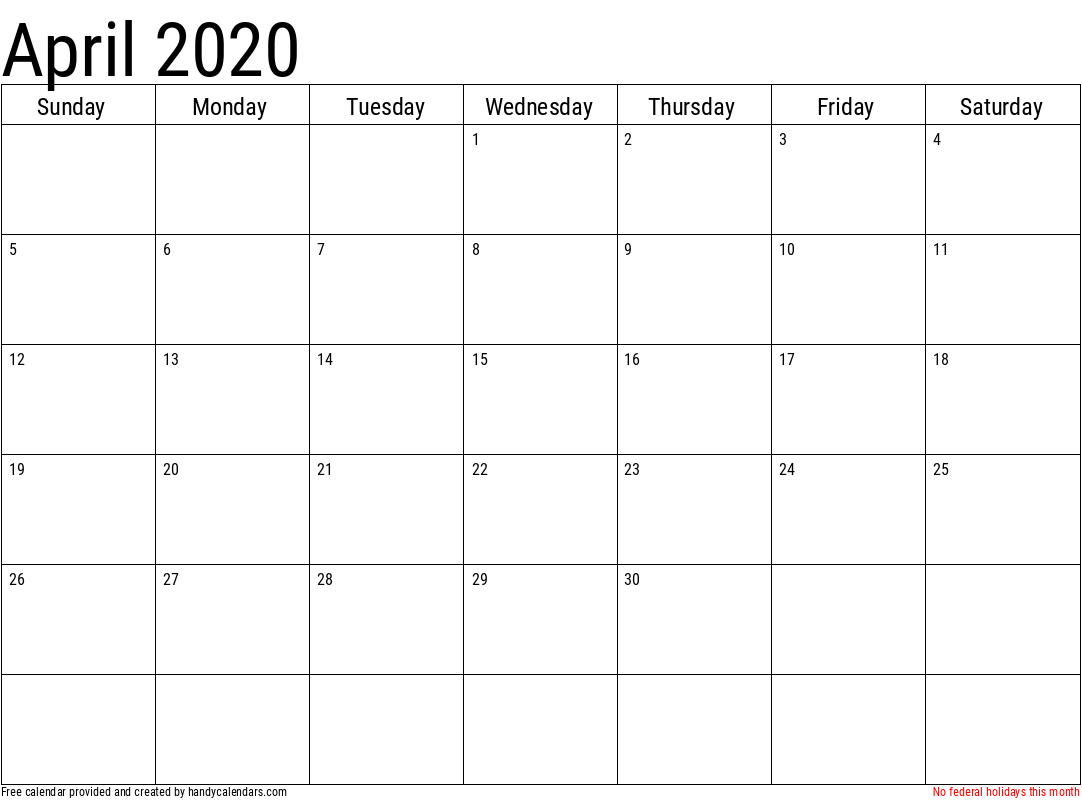 2020 April Calendar Template with Holidays