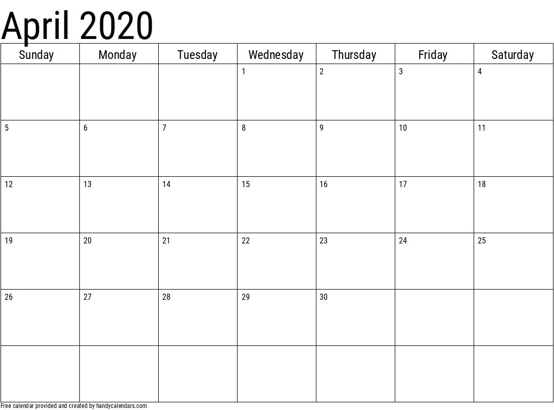 2020 April Calendar Template