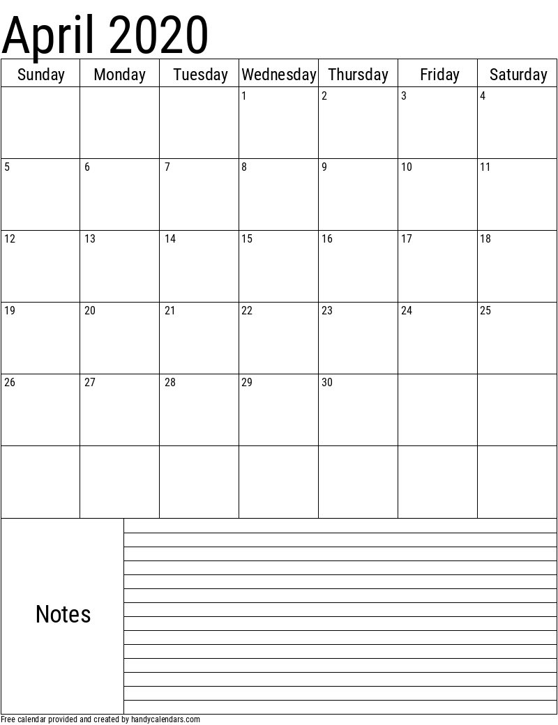 2020 April Vertical Calendar with Notes Template