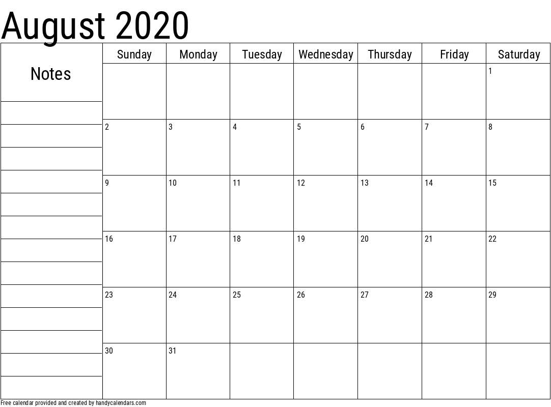 2020 August Calendar with Notes Template