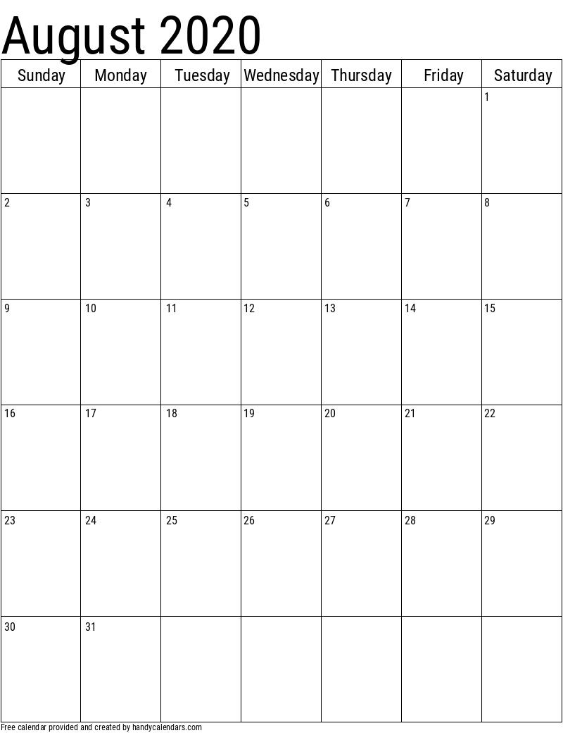 2020 August Vertical Calendar Template
