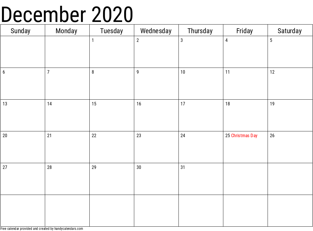 December 2020 Calendar with Holidays Template