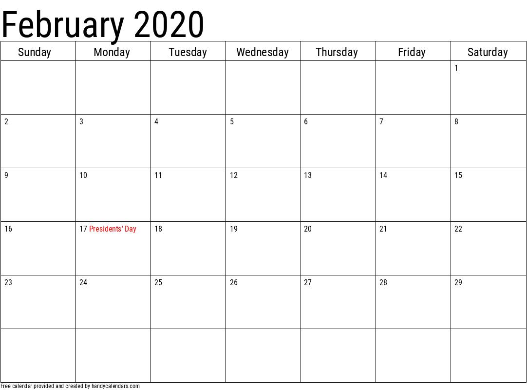 February 2020 Calendar with Holidays Template