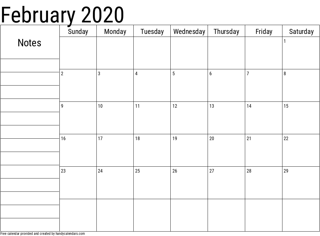 2020 February Calendar with Notes Template