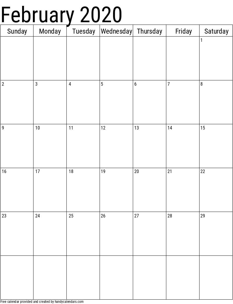 2020 February Vertical Calendar Template