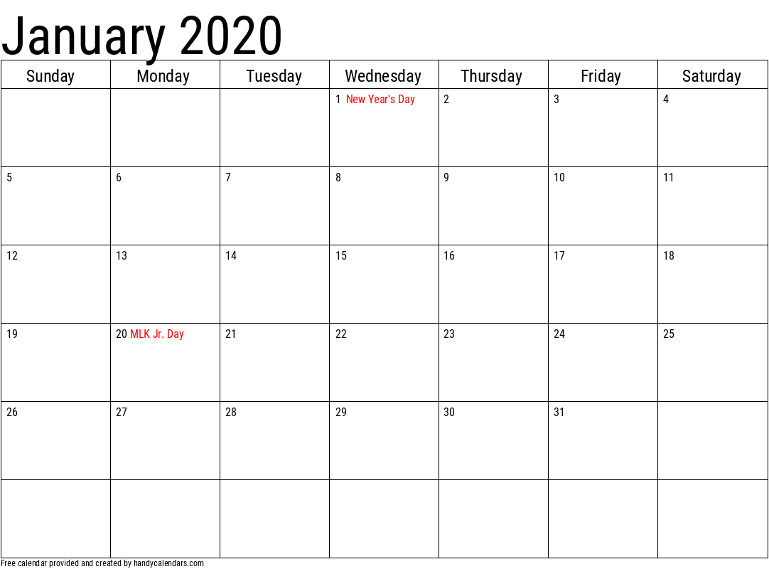 2020 January Calendar Template with Holidays