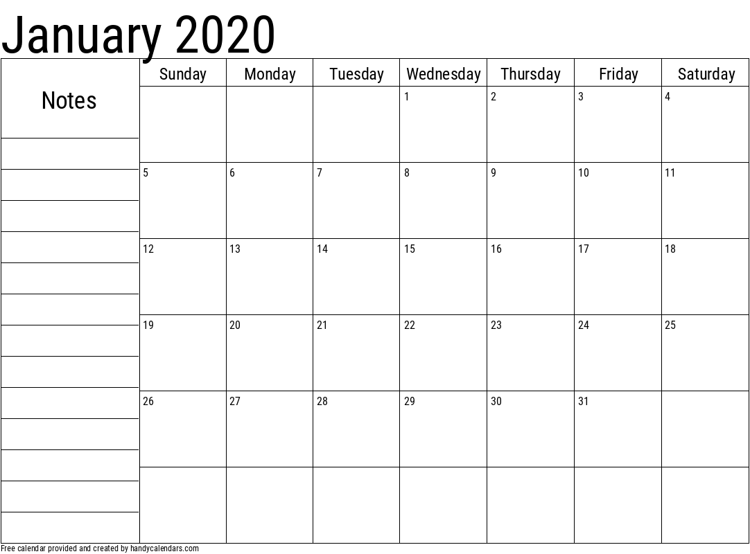 2020 January Calendar with Notes Template