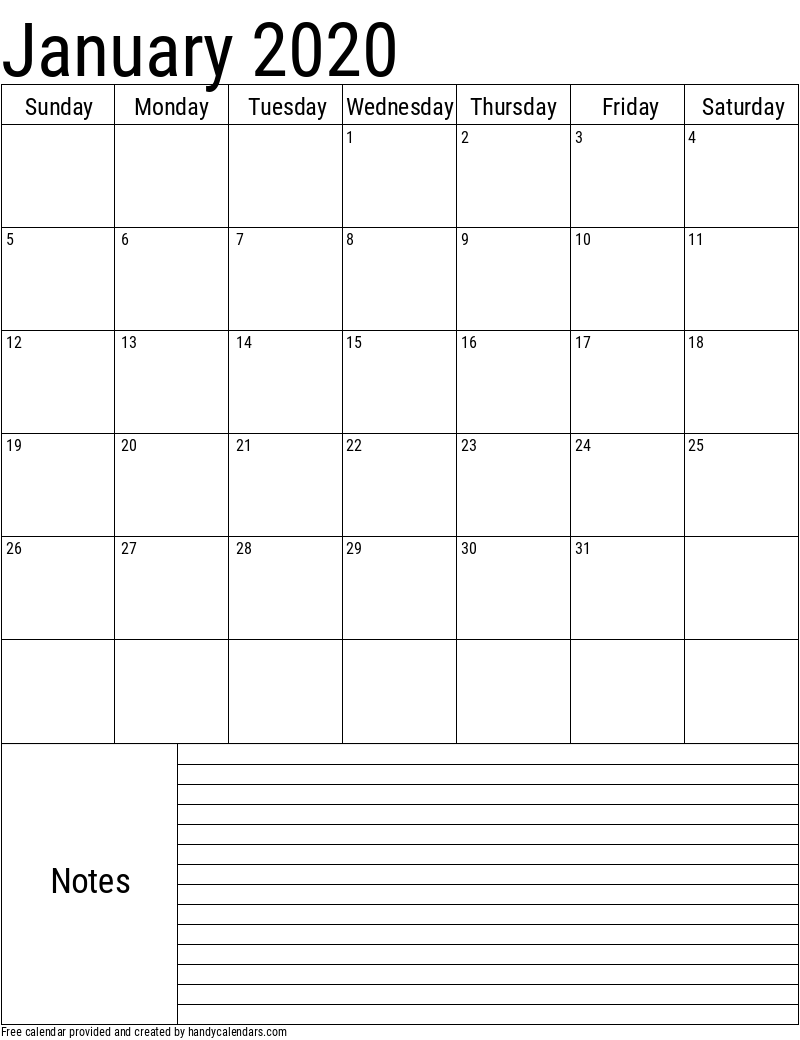 2020 January Vertical Calendar with Notes Template