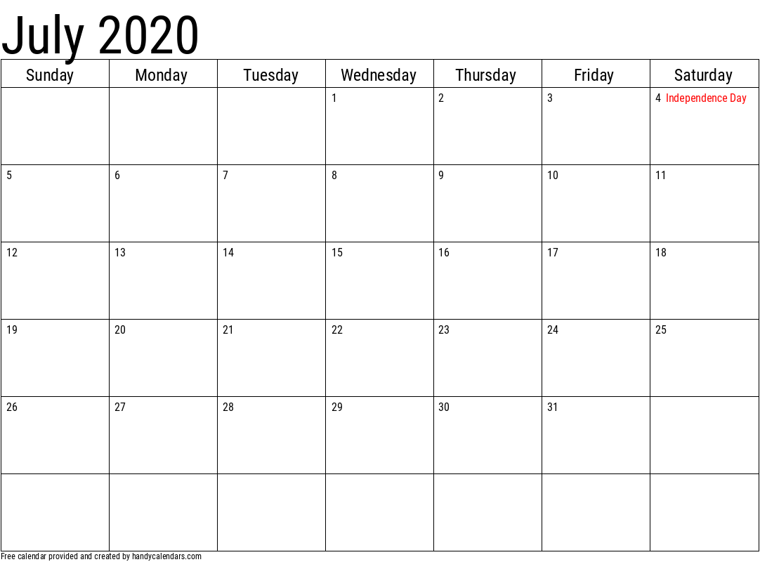 2020 July Calendar Template with Holidays