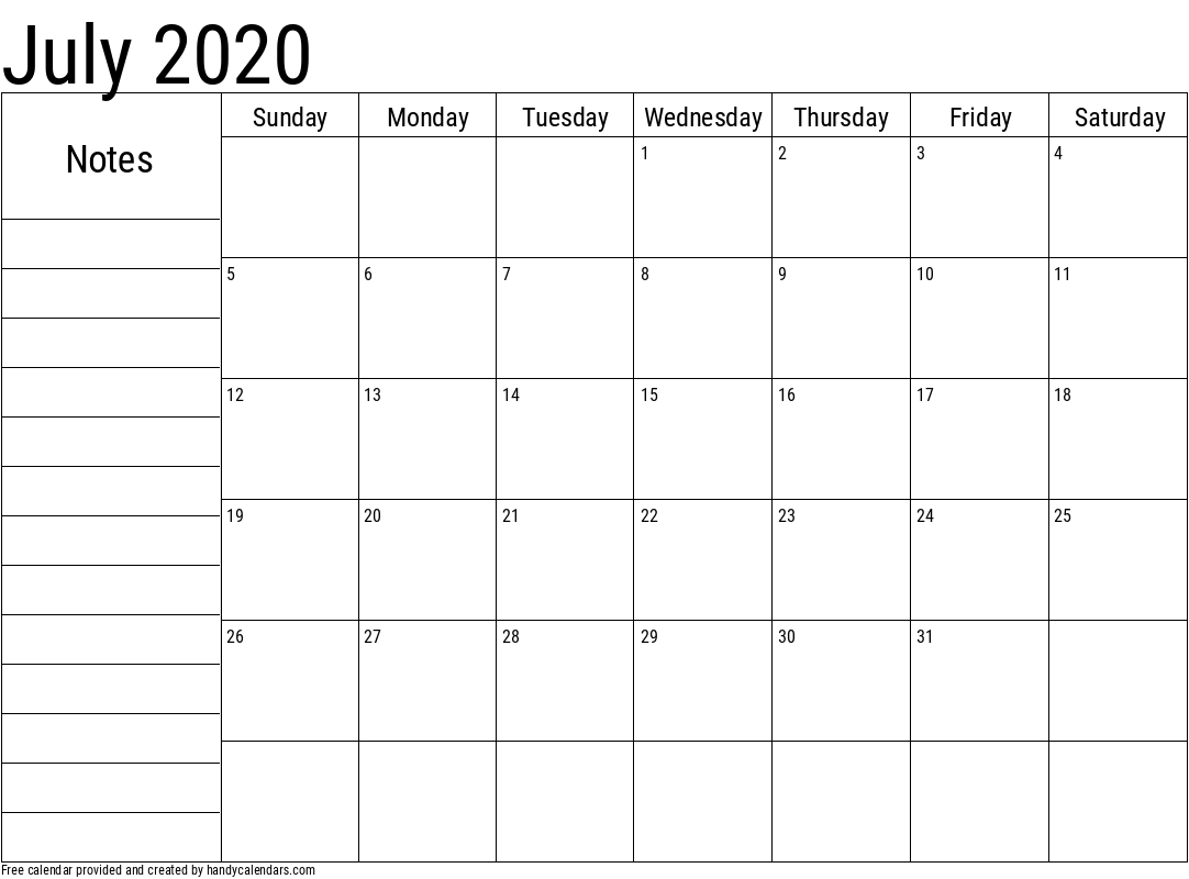 2020 July Calendar with Notes Template