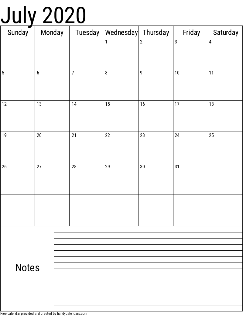 2020 July Vertical Calendar with Notes Template