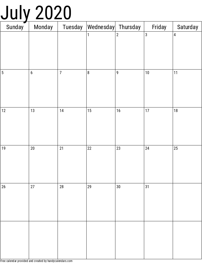July 2020 Vertical Calendar