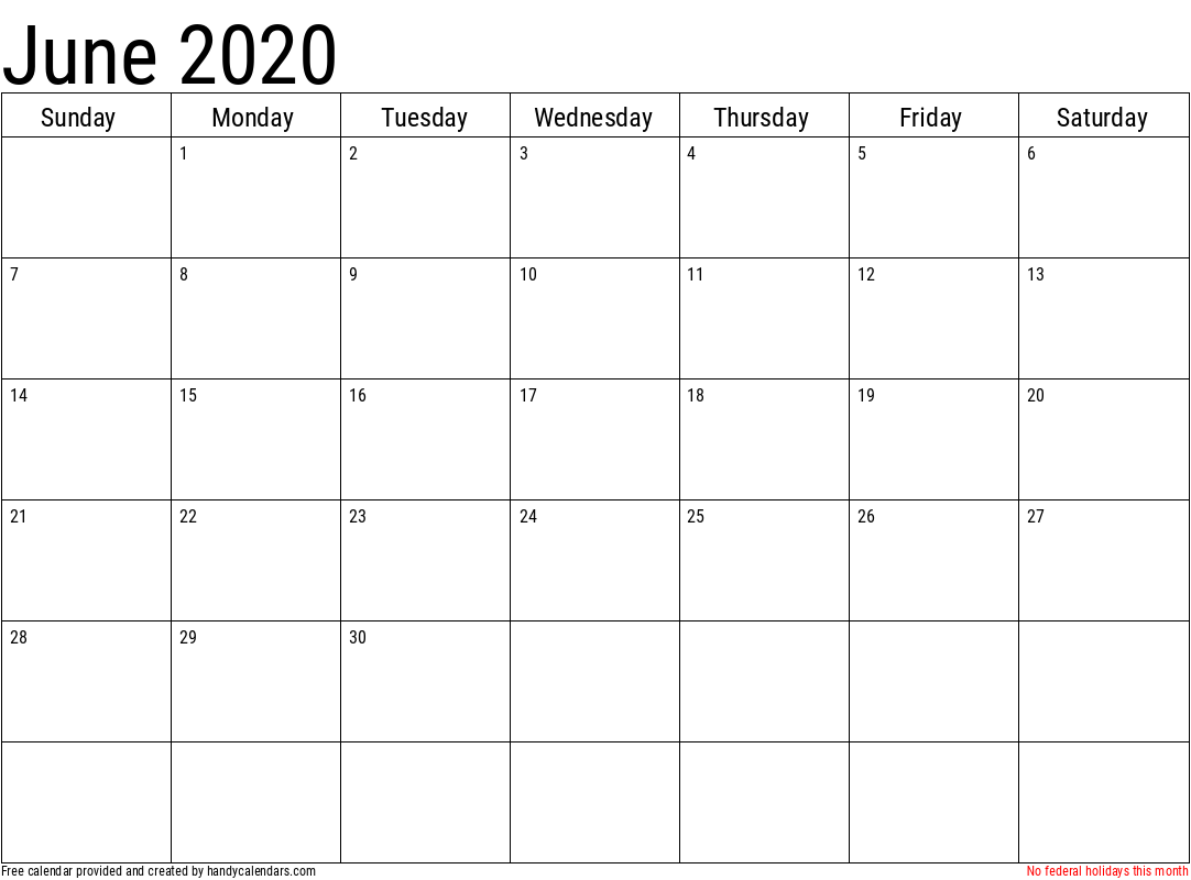 2020 June Calendar Template with Holidays