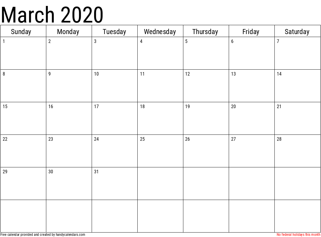 2020 March Calendar Template with Holidays