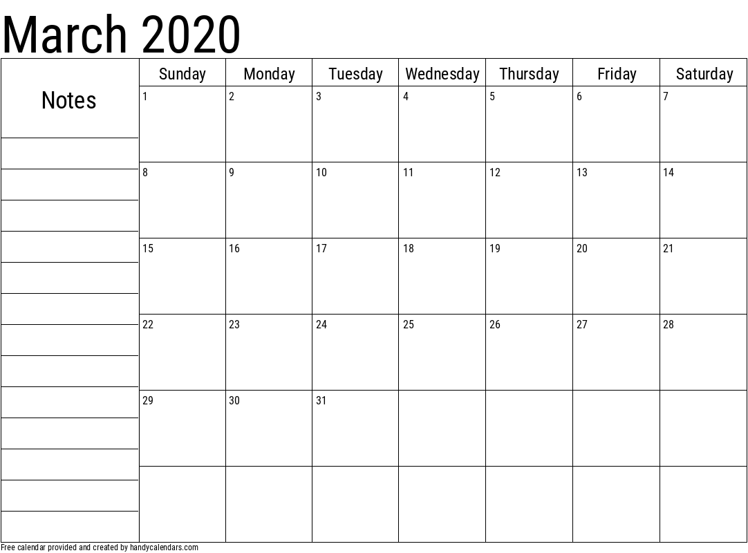 2020 March Calendar with Notes Template