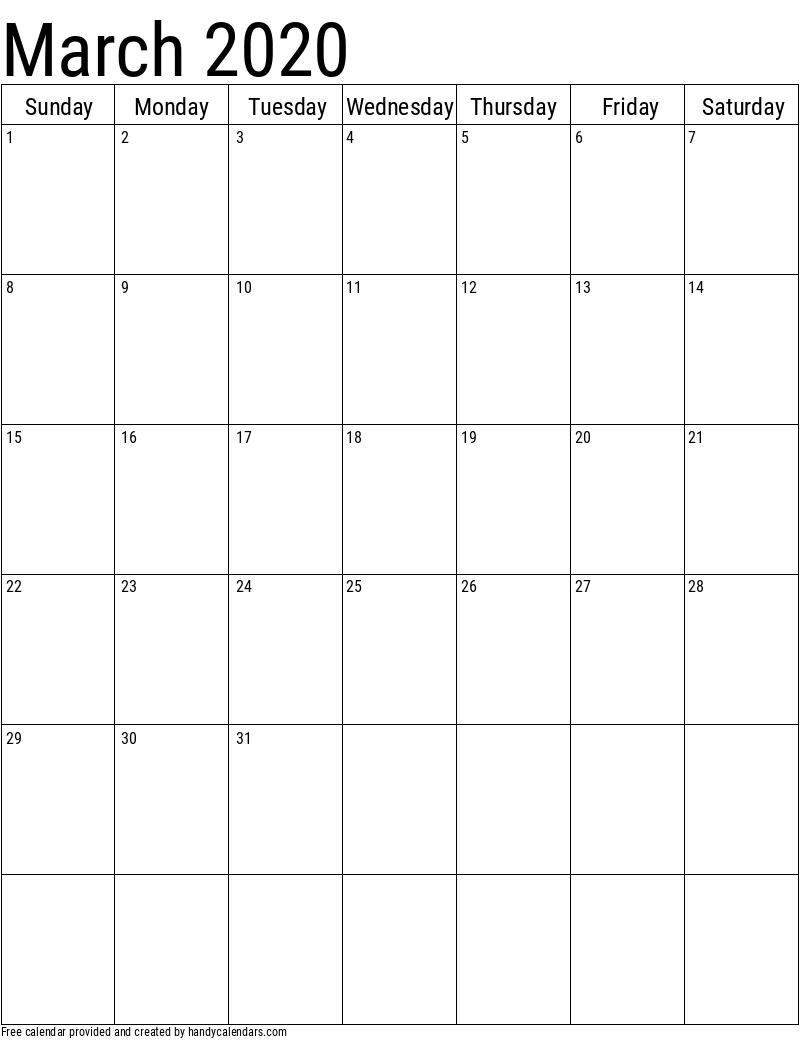 2020 March Vertical Calendar Template
