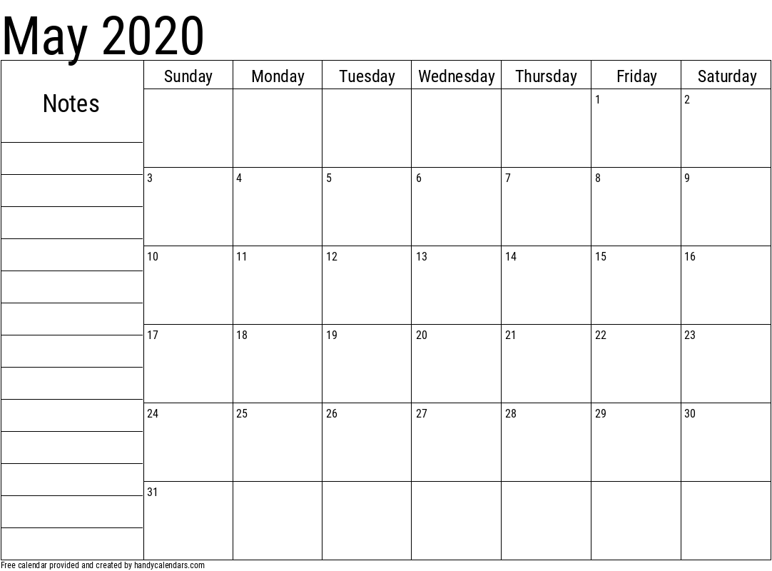 2020 May Calendar with Notes Template