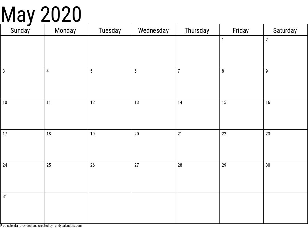 May 2020 Calendar Template