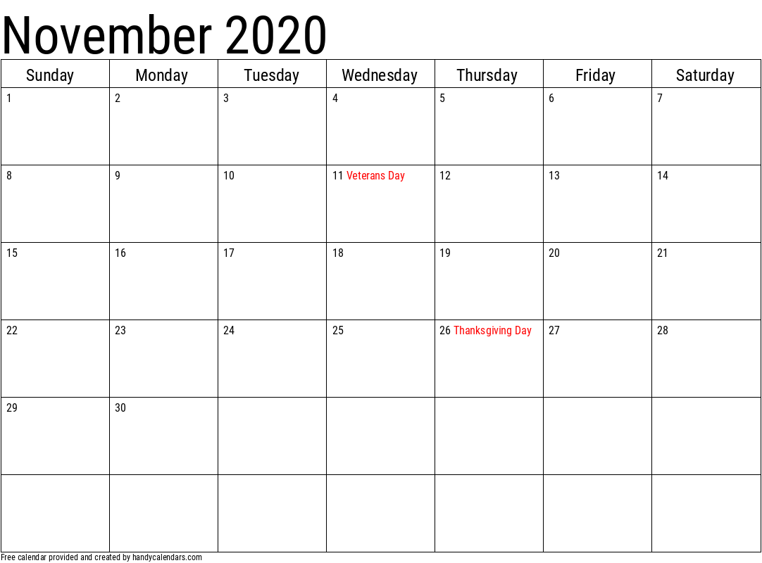 November 2020 Calendar with Holidays Template