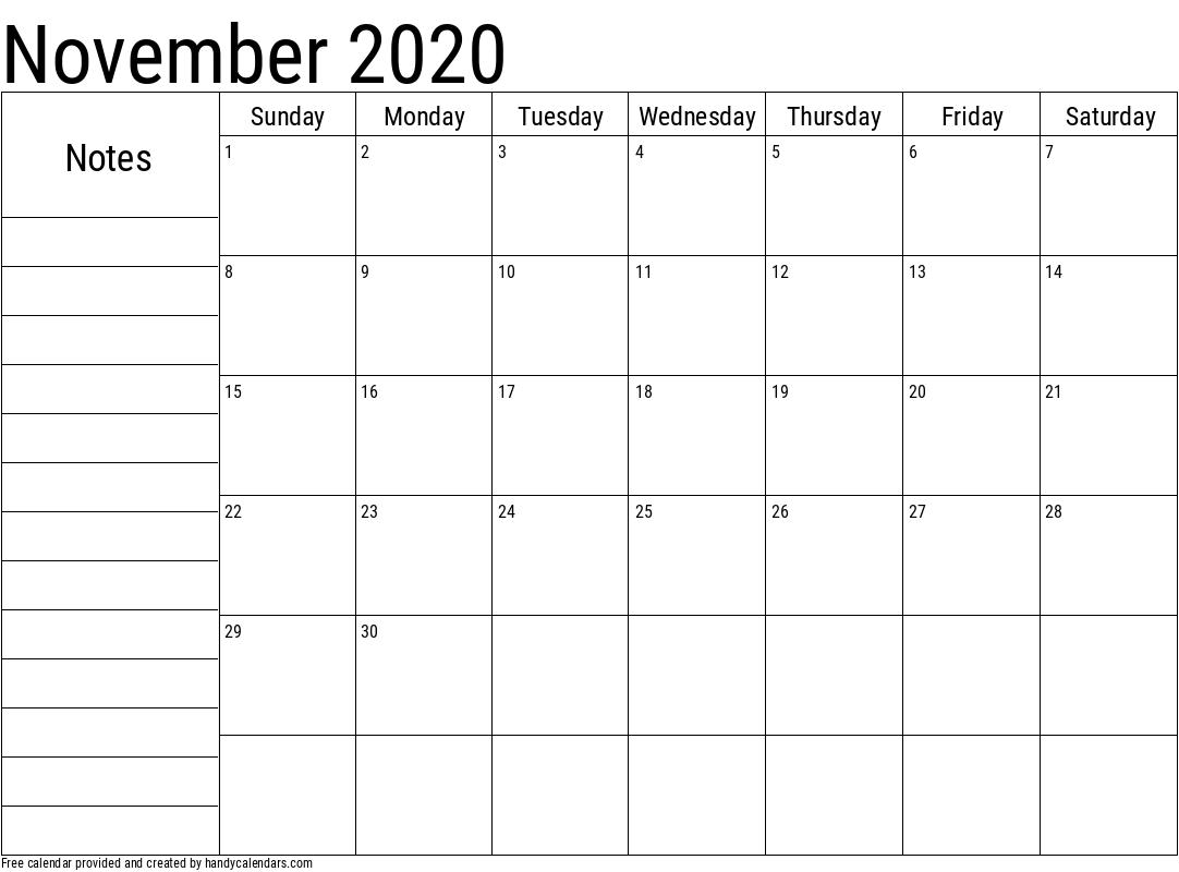 2020 November Calendar with Notes Template