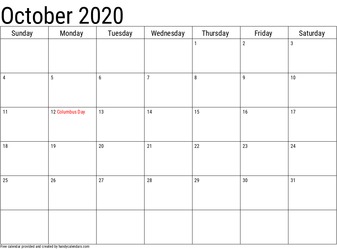 October 2020 Calendar with Holidays Template