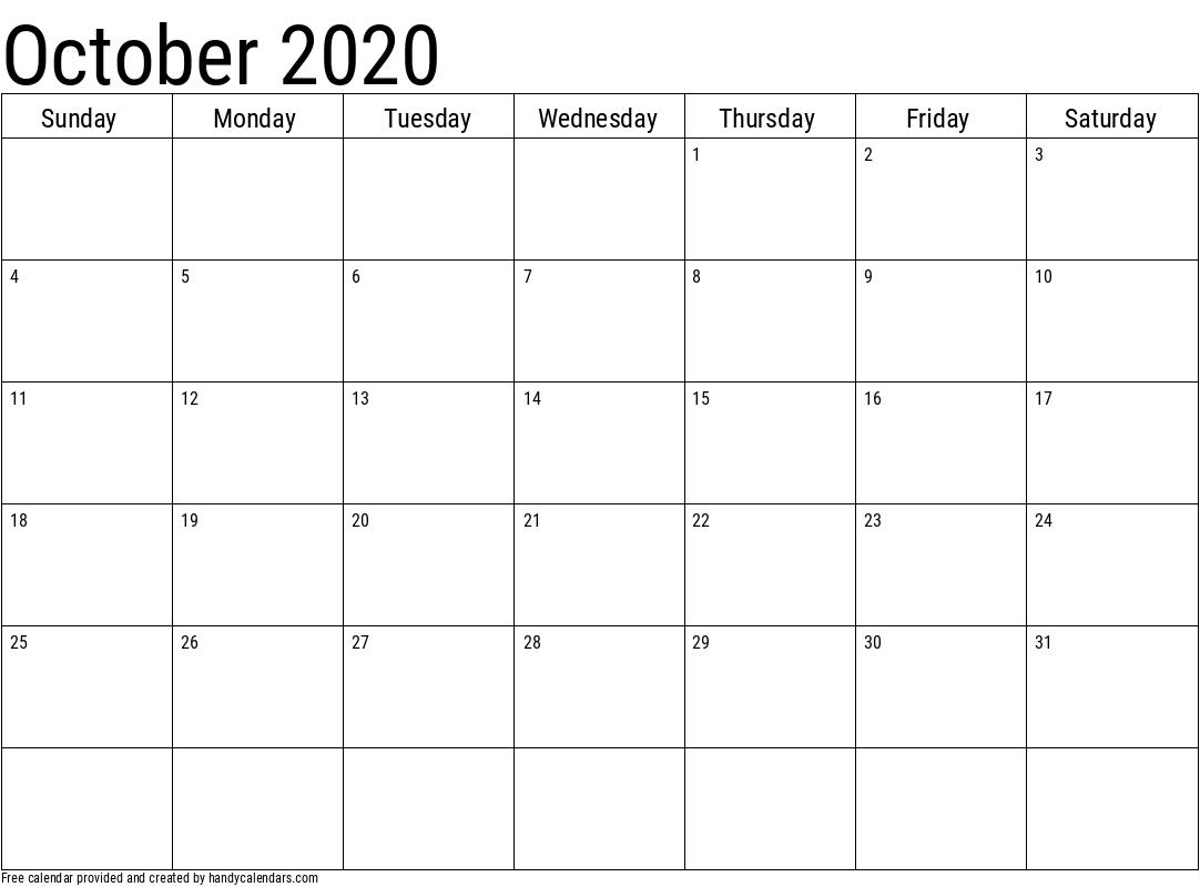 2020 October Calendar Template