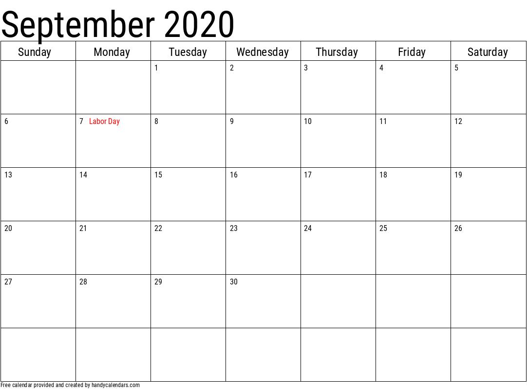 September 2020 Calendar with Holidays Template