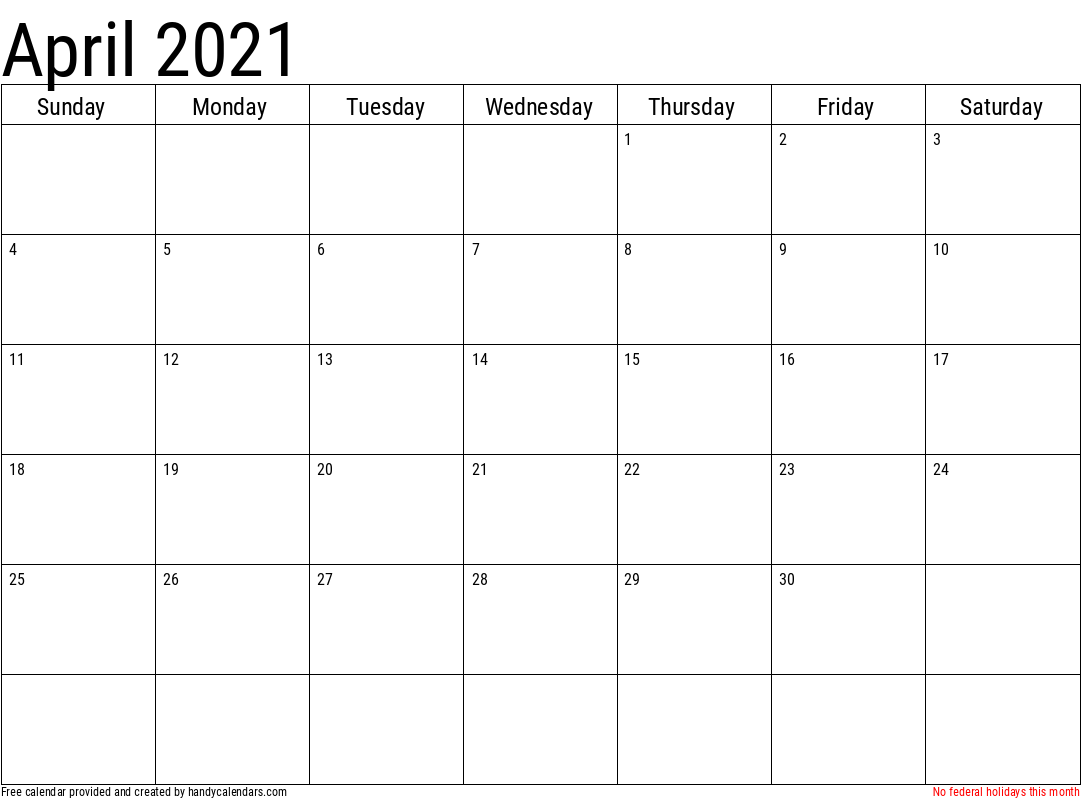 April 2021 Calendar with Holidays Template