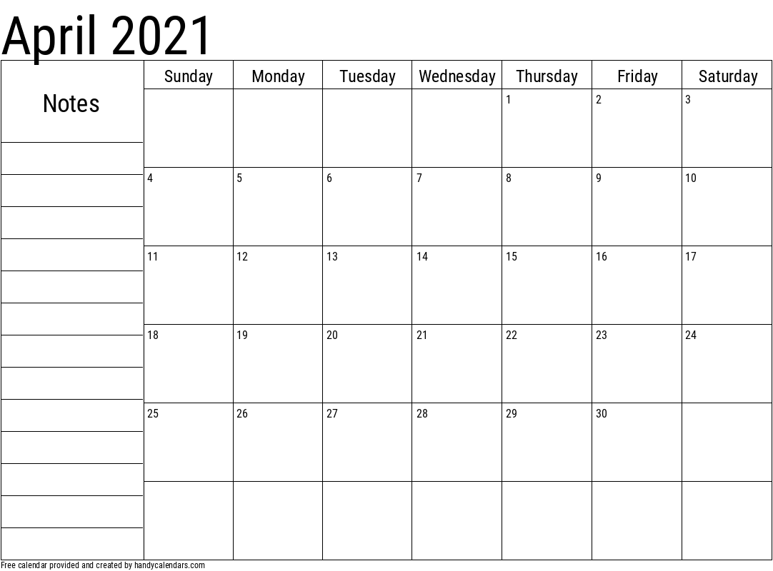 April 2021 Calendar With Notes