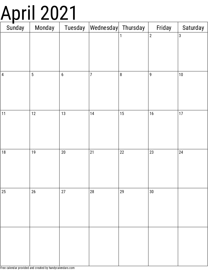 April 2021 Vertical Calendar Template