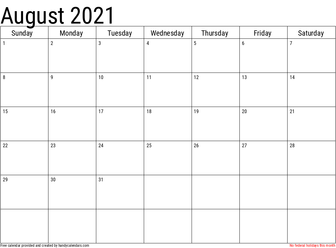 2021 August Calendar Template with Holidays