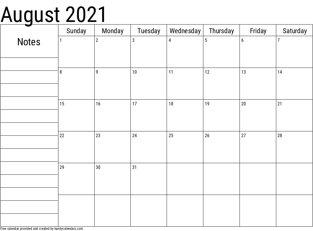 2021 August Calendar with Notes Template