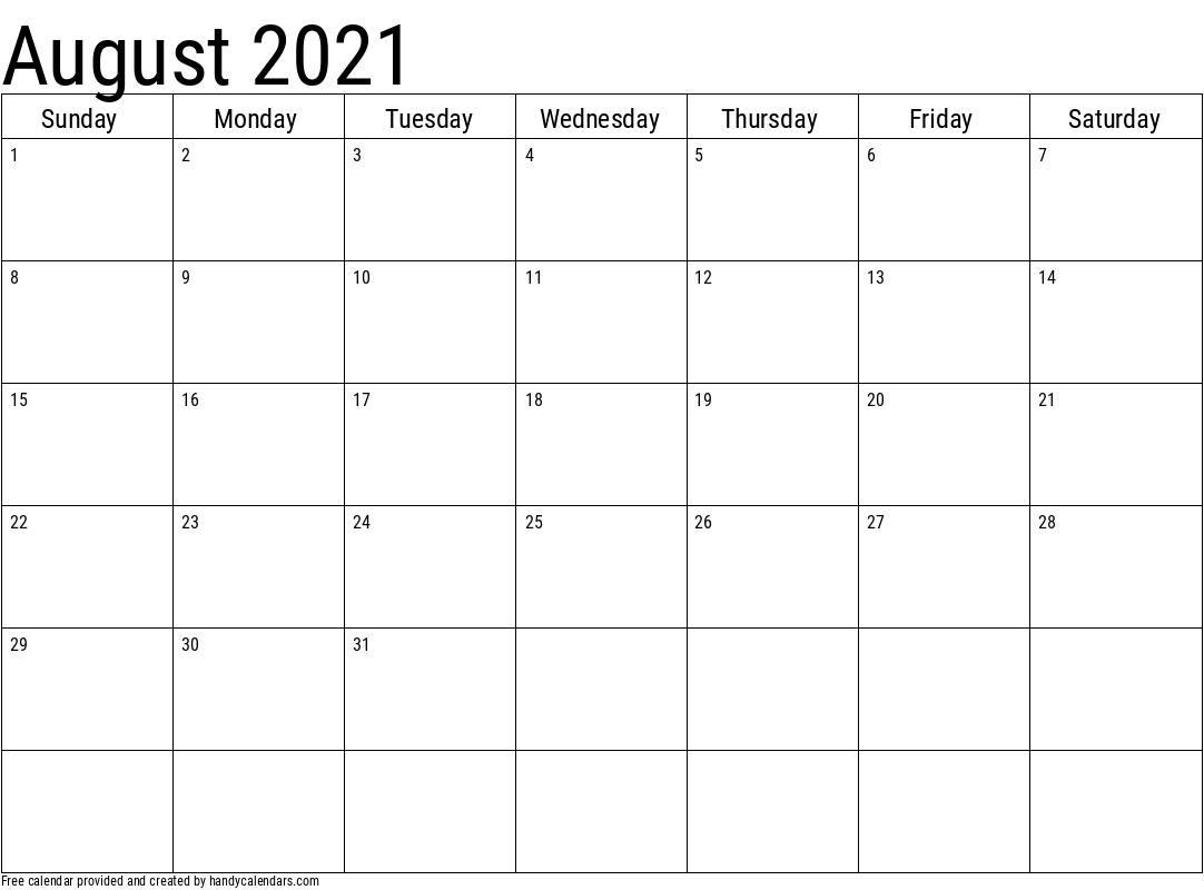 August 2021 Calendar Template