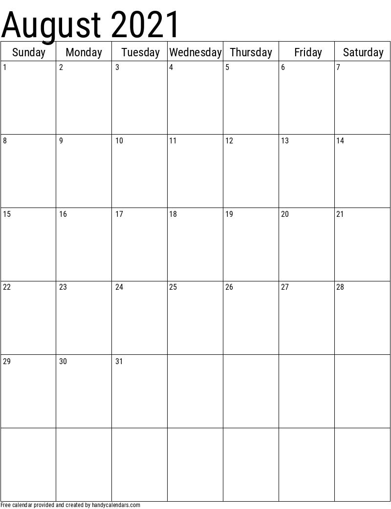 August 2021 Vertical Calendar Template