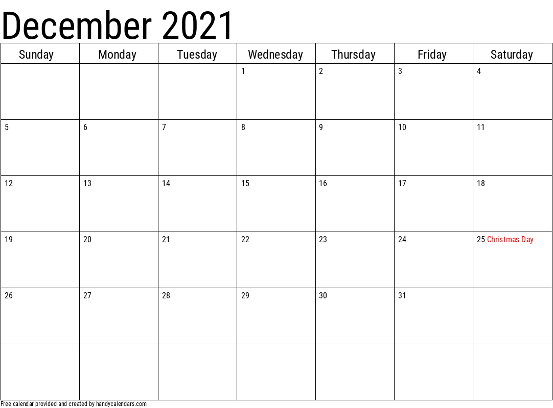 2021 December Calendar Template with Holidays
