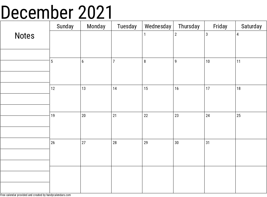 2021 December Calendar with Notes Template