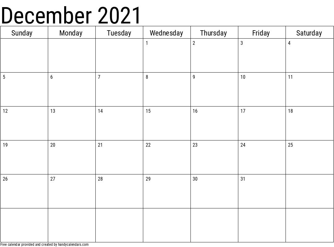 2021 December Calendar Template