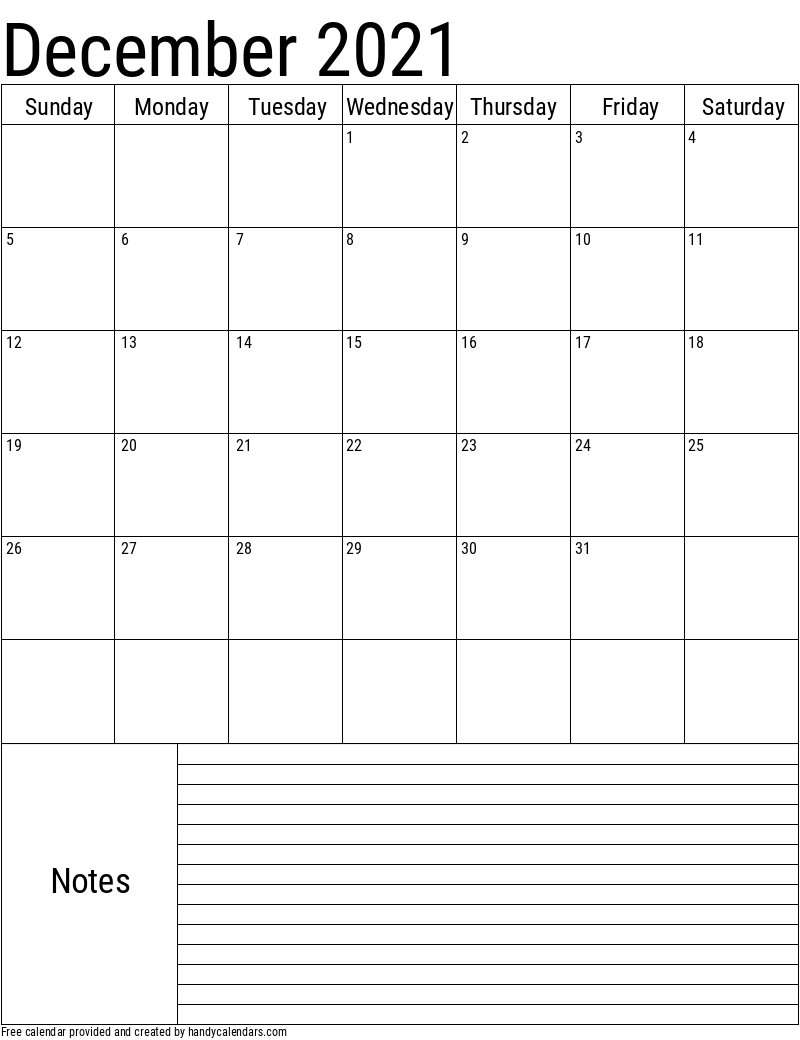 2021 December Vertical Calendar with Notes Template