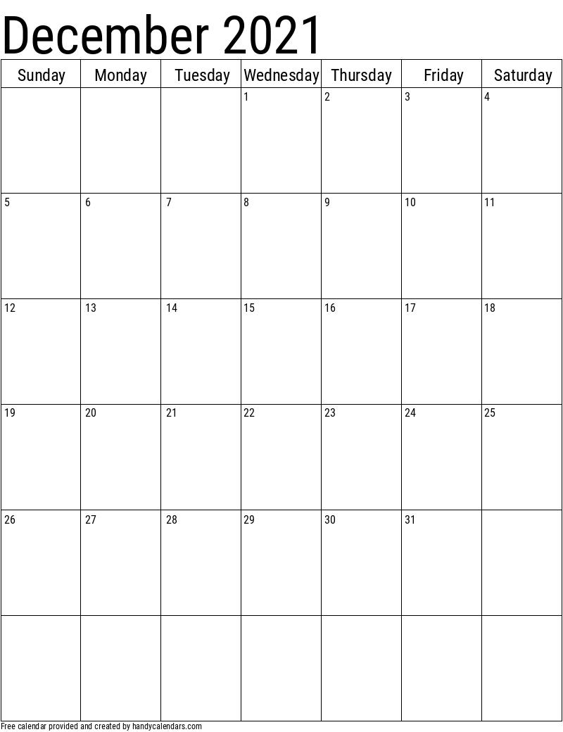 December 2021 Vertical Calendar Template