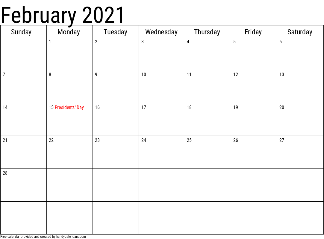 2021 February Calendar Template with Holidays
