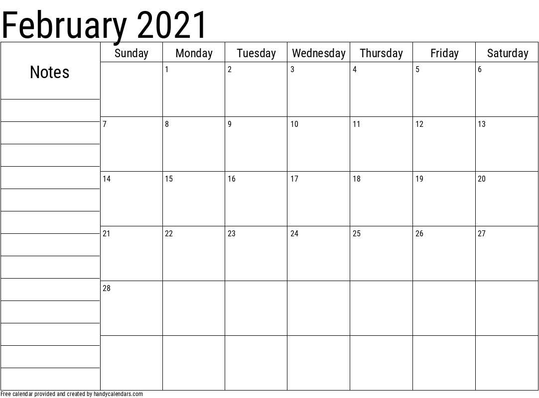 2021 February Calendar with Notes Template