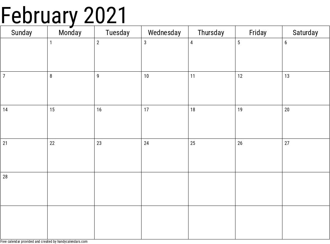 2021 February Calendar Template