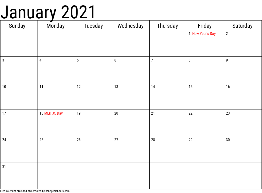 January 2021 Calendar with Holidays Template