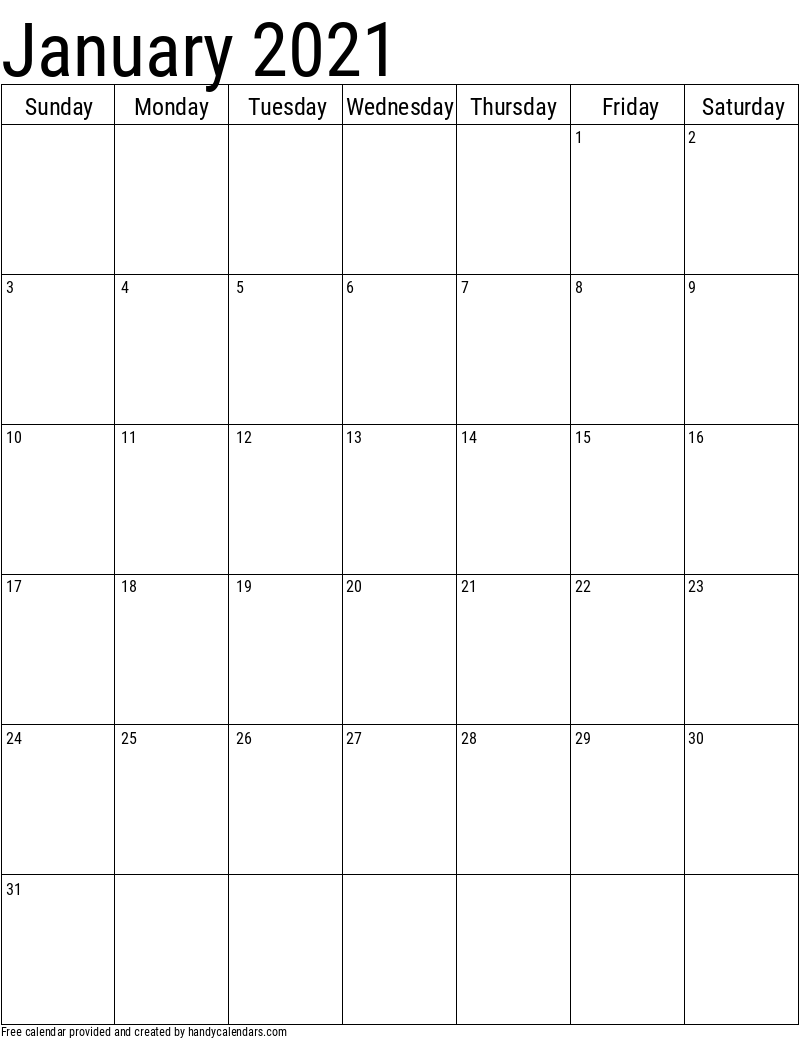 January 2021 Vertical Calendar Template