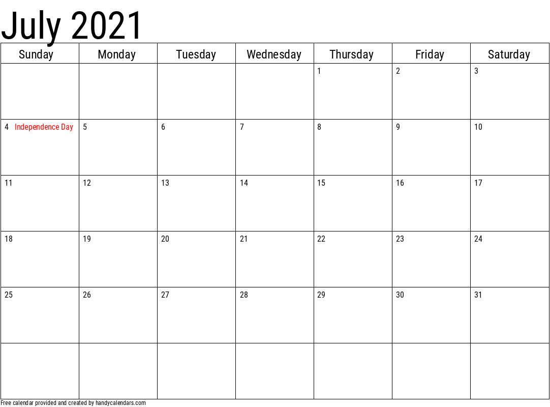 2021 July Calendar Template with Holidays