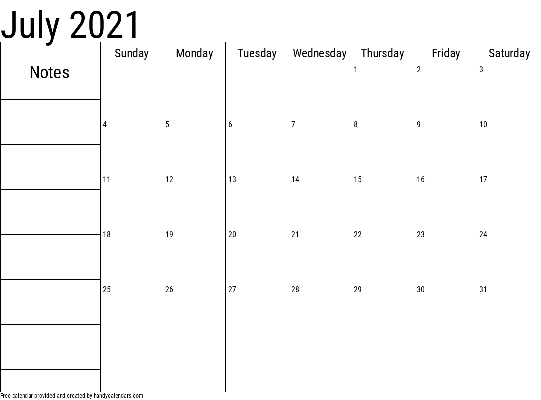 2021 July Calendar with Notes Template