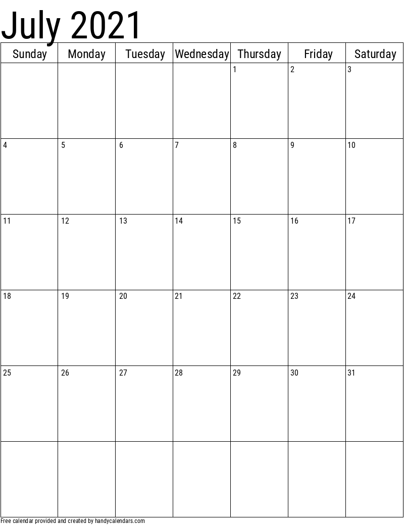 2021 July Vertical Calendar Template