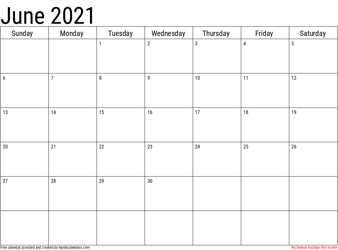 June 2021 Calendar With Holidays